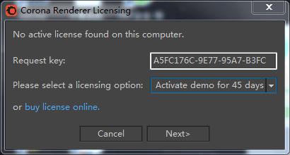 cr渲染器安装了渲染的时候出现Corona Renderer Licensing对话框,然后就渲染不了了,求解