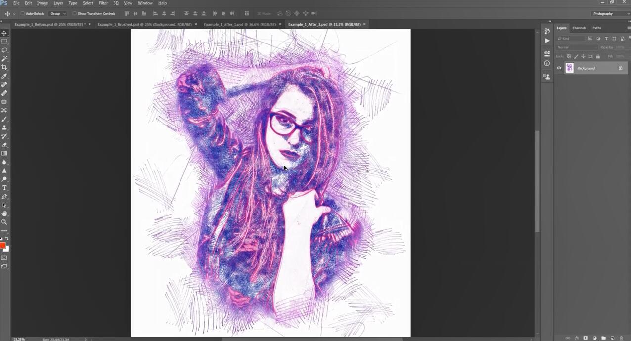 Photoshop草图 – 铅笔 – 素描等PS图像效果动作