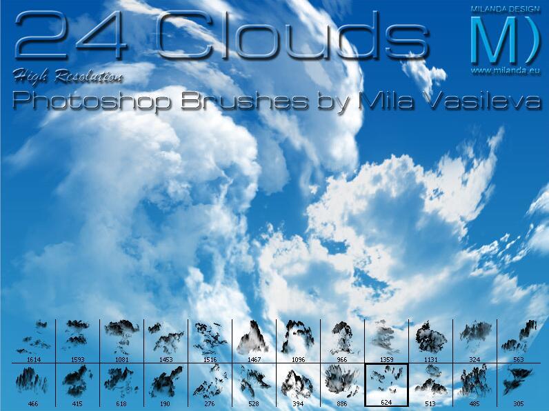 PS云笔刷24 Cloud Brushes By Mila Vasileva