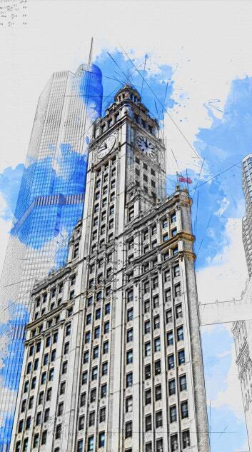 PS动作:快速创建建筑线稿铅笔 / 水彩草图特效