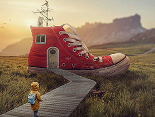 PS中制作鞋屋的超现实照片操纵场景效果教程