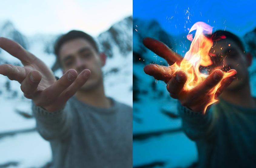 PS火焰手效果制作教程