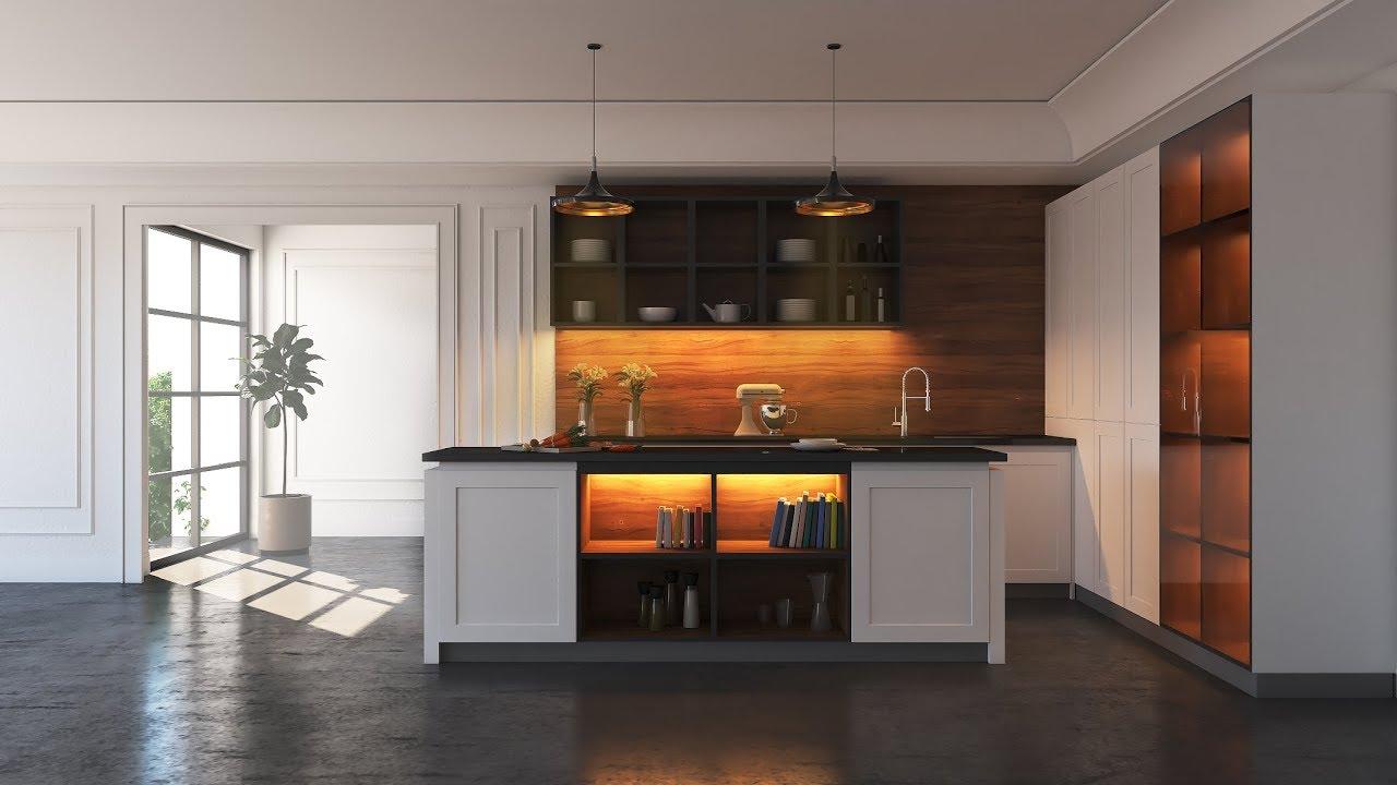 3DMax+Vray室内现代厨房建模与渲染教程
