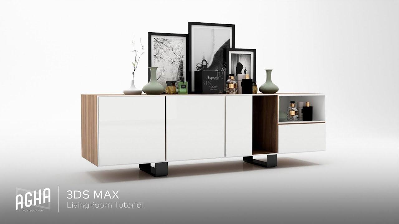 中级-3Ds Max 2018电视柜Vray渲染教程—无字幕讲解