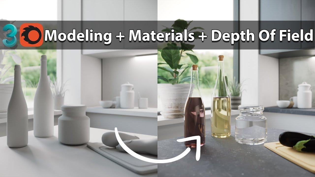 3DMax Corona渲染瓶建模液体材质和景深教程