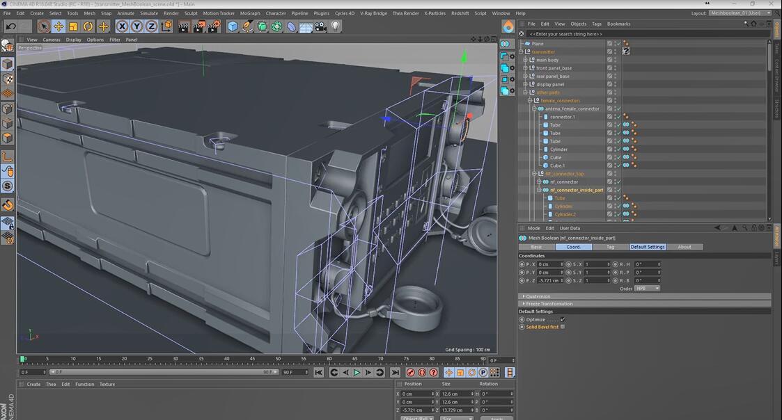 C4D布尔对象3D建模插件:MeshBoolean v1.5