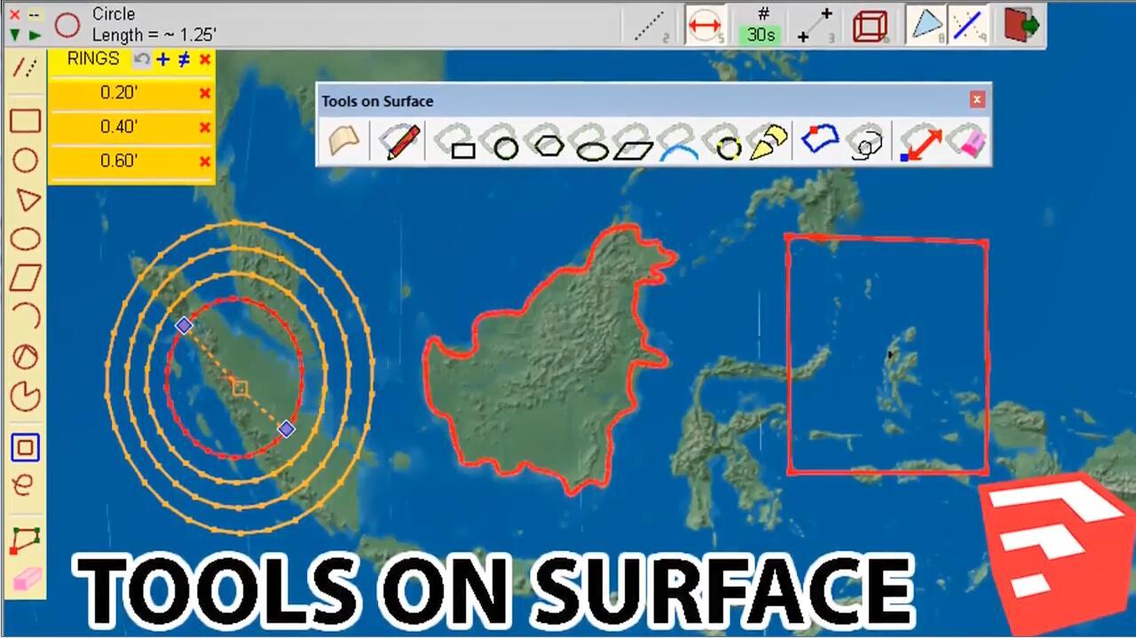 SketchUp草图大师曲面绘图工具插件:ToolsOnSurface v2.4a
