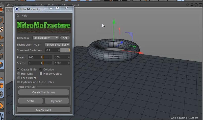 C4D动力学破碎插件:Nitro4D NitroMoFracture v1.04 汉化版
