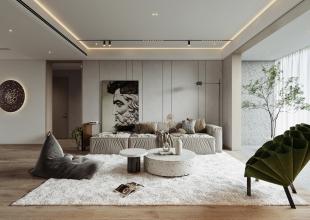 corona渲染___白色商业客厅